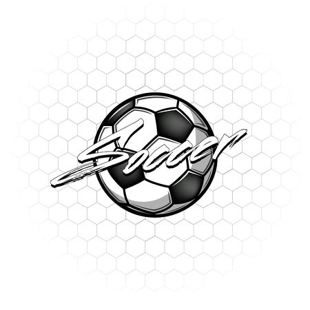 Football ball with the inscription football on the background of the grid. Soccer design template. Football emblem pattern. Print on t-shirt graphics. Vector illustration Stock Illustratie