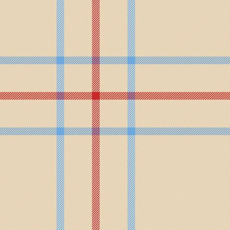Tartan plaid. Scottish pattern in beige, red and blue cage. Scottish cage. Traditional Scottish checkered background. Seamless fabric texture. Vector illustration