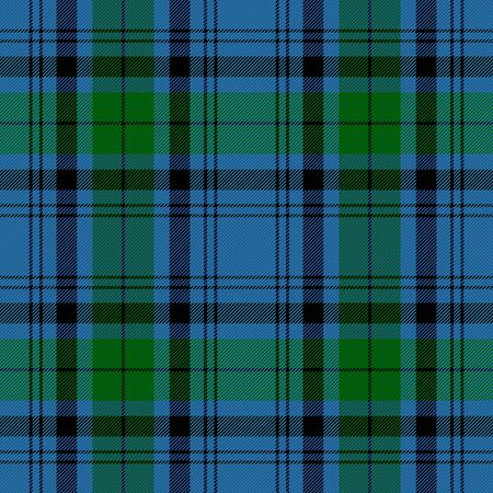 Tartan plaid. Scottish pattern in black, blue and green cage. Scottish cage. Traditional Scottish checkered background. Seamless fabric texture. Vector illustration