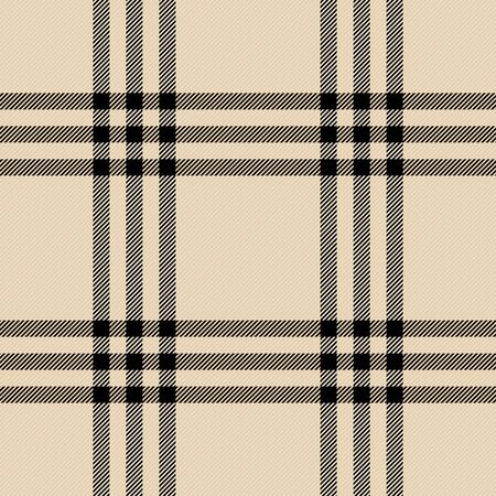 Tartan plaid. Scottish pattern in beige and black cage. Scottish cage. Traditional Scottish checkered background. Seamless fabric texture. Vector illustration