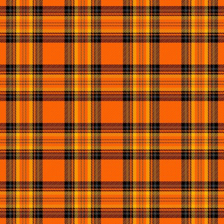 Halloween Tartan plaid. Scottish pattern in black, orange and gray cage. Scottish cage. Traditional Scottish checkered background. Seamless fabric texture. Vector illustration
