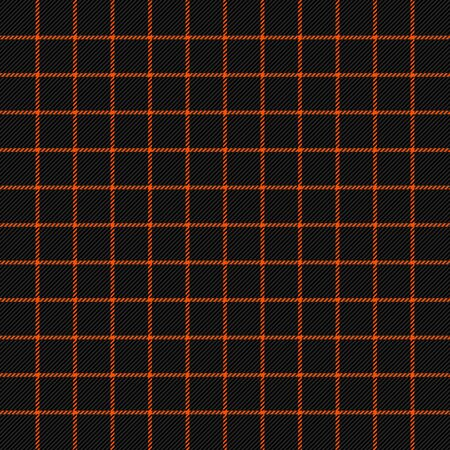Halloween Tartan plaid. Scottish pattern in black and orange cage. Scottish cage. Traditional Scottish checkered background. Seamless fabric texture. Vector illustration