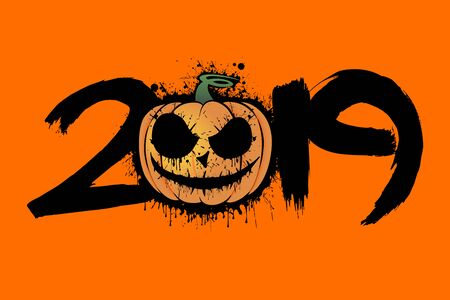Abstract number 2019 in grunge style and halloween pumpkin from blots. Happy halloween. Design pattern for banner, poster, greeting card, flyer, party invitation. Vector illustration