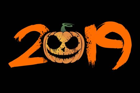 Abstract number 2019 in grunge style and halloween pumpkin from blots. Happy halloween. Design pattern for banner, poster, greeting card, flyer, party invitation. Vector illustration Çizim