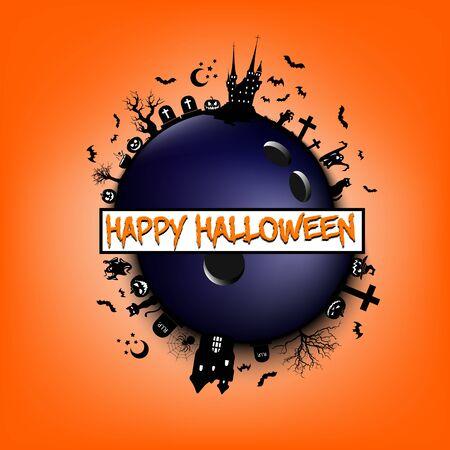 Feliz Halloween. Objetos y elementos de Halloween en el fondo de un Feliz Halloween y bola de boliche. Patrón de diseño de pancarta, póster, tarjeta de felicitación, folleto, invitación a una fiesta. Ilustración vectorial
