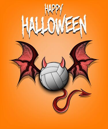 Happy Halloween. Devil volleyball ball. Volleyball ball with horns, wings and devil tail. Design pattern for banner, poster, greeting card, flyer, party invitation. Vector illustration