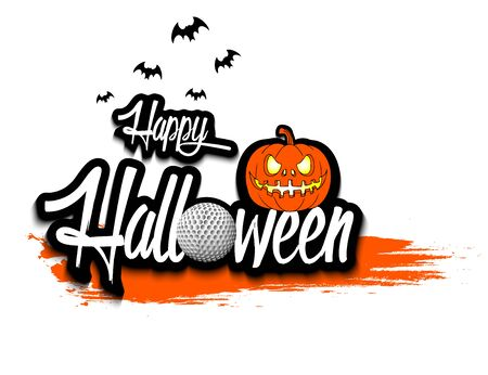 Halloween pattern. Happy halloween, golf ball, pumpkin and bats on isolated background. Design pattern for banner, poster, greeting card, flyer, party invitation. Vector illustration