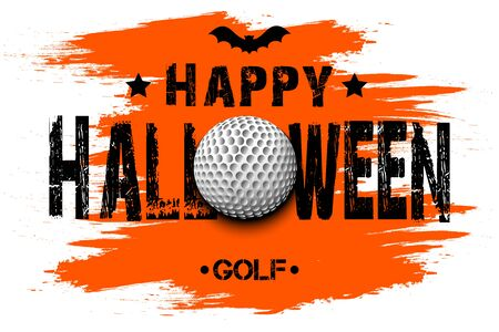 Halloween pattern. Happy halloween and golf ball. Golf  template design. Design pattern for banner, poster, greeting card, flyer, party invitation. Vector illustration  イラスト・ベクター素材