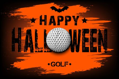 Halloween pattern. Happy halloween and golf ball. Golf template design. Design pattern for banner, poster, greeting card, flyer, party invitation. Vector illustration