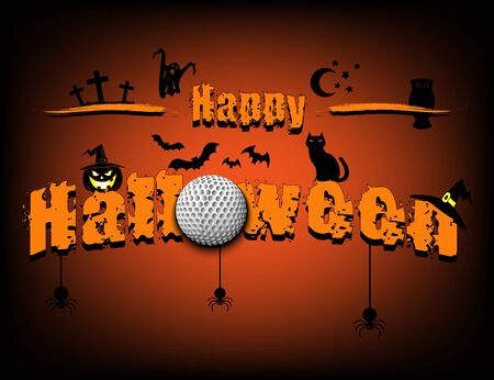 Halloween pattern. Happy halloween and golf ball on isolated background. Atmosphere halloween. Design pattern for banner, poster, greeting card, flyer, party invitation. Vector illustration