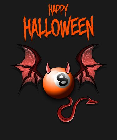 Happy Halloween. Devil billiard ball. billiard ball with horns, wings and devil tail. Design pattern for banner, poster, greeting card, flyer, party invitation. Vector illustration