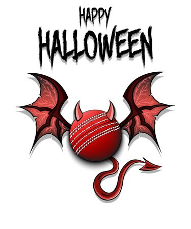 Happy Halloween. Devil cricket ball. Cricket ball with horns, wings and devil tail. Design pattern for banner, poster, greeting card, flyer, party invitation. Vector illustration