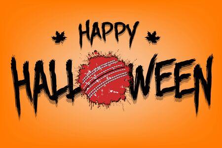 Felice halloween e palla di cricket di macchie. Modello di design per banner, poster, biglietti di auguri, volantini, inviti a una festa. Festa di Halloween. Stile grunge. Illustrazione vettoriale