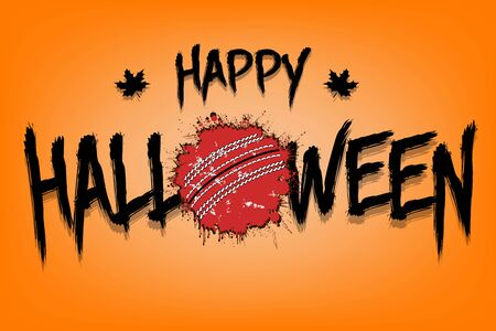 Happy halloween and cricket ball of blots. Design pattern for banner, poster, greeting card, flyer, party invitation. Halloween holiday. Grunge style. Vector illustration