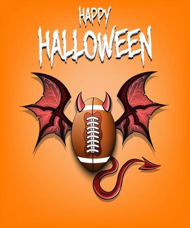 Happy Halloween. Devil football ball. Football ball with horns, wings and devil tail. Design pattern for banner, poster, greeting card, flyer, party invitation. Vector illustration