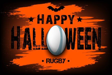 Halloween pattern. Happy halloween and rugby ball. Bowling  template design. Design pattern for banner, poster, greeting card, flyer, party invitation. Vector illustration Illustration