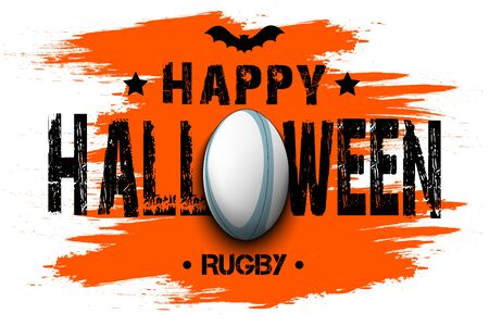 Halloween pattern. Happy halloween and rugby ball. Bowling logo template design. Design pattern for banner, poster, greeting card, flyer, party invitation. Vector illustration