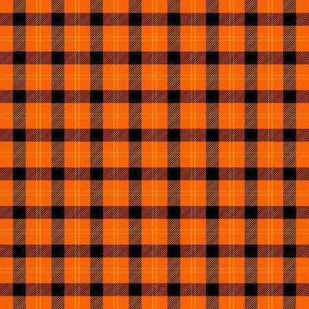 Halloween Tartan plaid. Scottish pattern in black and orange  cage. Scottish cage. Traditional Scottish checkered background. Seamless fabric texture. Vector illustration