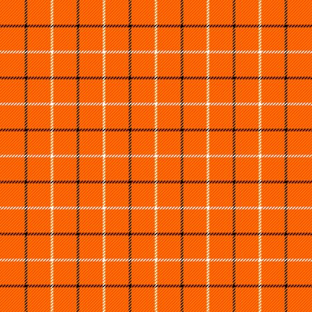 Halloween Tartan plaid. Scottish pattern in black, white and orange  cage. Scottish cage. Traditional Scottish checkered background. Seamless fabric texture.