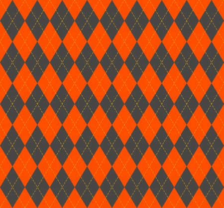 Halloween Argyle plaid. Scottish pattern in orange and yellow  rhombuses. Scottish cage. Traditional Scottish background of diamonds. Seamless fabric texture.