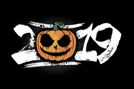 Abstract number 2019 in grunge style and halloween pumpkin from blots. Happy halloween. Design pattern for banner, poster, greeting card, flyer, party invitation.