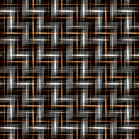 Halloween Tartan plaid. Scottish pattern in black, gray and orange  cage. Scottish cage. Traditional Scottish checkered background. Seamless fabric texture. 向量圖像