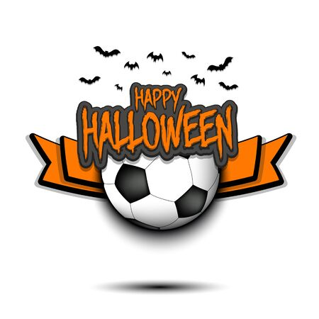 Happy Halloween pattern. Football template design. Soccer ball and bat. Design pattern for banner, poster, greeting card, flyer, party invitation.