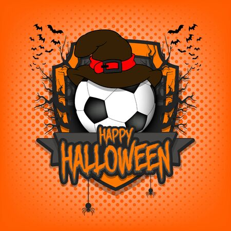 Halloween pattern. Football template design. Soccer ball in a hat on a background of spooky trees and bats with a shield. Pattern for banner, poster, party invitation.