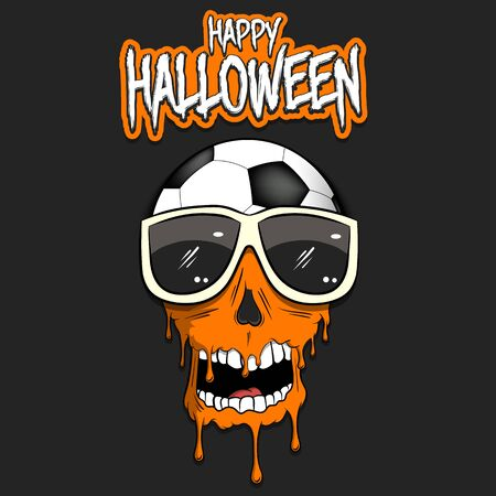 Happy Halloween. Soccer ball with skull in sunglasses with paint. Graffiti illustration of soccer ball with skull on isolated background. Skull art image.