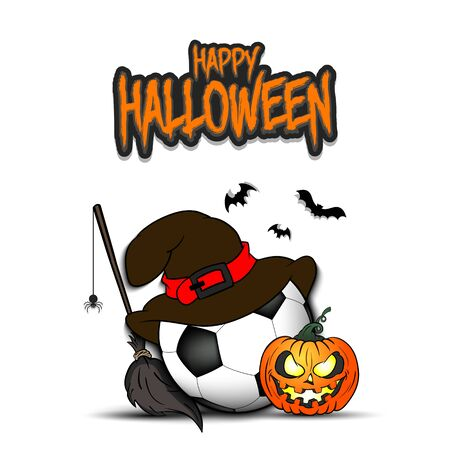 Happy Halloween. Football template design. Soccer ball with witch hat, pumpkin, broom, spider and bat. Design pattern for banner, poster, greeting card, flyer, party invitation.