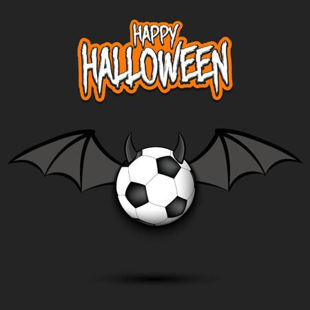 Happy Halloween. Devil soccer ball. Soccer ball with horns and wings. Design pattern for banner, poster, greeting card, flyer, party invitation. Illusztráció