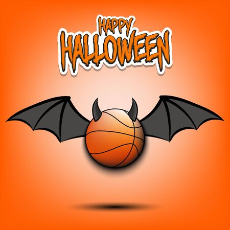 Happy Halloween. Devil basketball ball. Basketball ball with horns and wings. Design pattern for banner, poster, greeting card, flyer, party invitation. Illusztráció