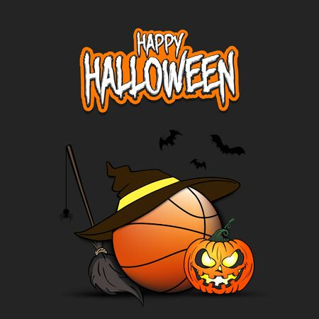Happy Halloween. Basketball template design. Basketball ball with witch hat, pumpkin, broom, spider and bat. Design pattern for banner, poster, flyer, party invitation.