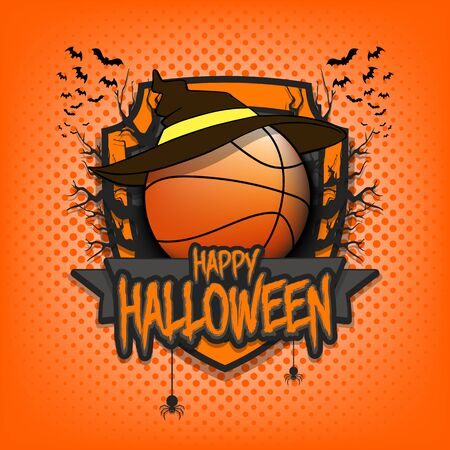 Halloween pattern. Basketball template design. Basketball ball in a hat on a background of spooky trees and bats with a shield. Pattern for banner, poster, party invitation.