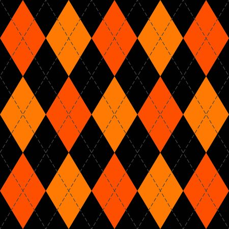 Halloween Argyle plaid. Scottish pattern in orange and black rhombuses. Scottish cage. Traditional Scottish background of diamonds. Seamless fabric texture. Illusztráció