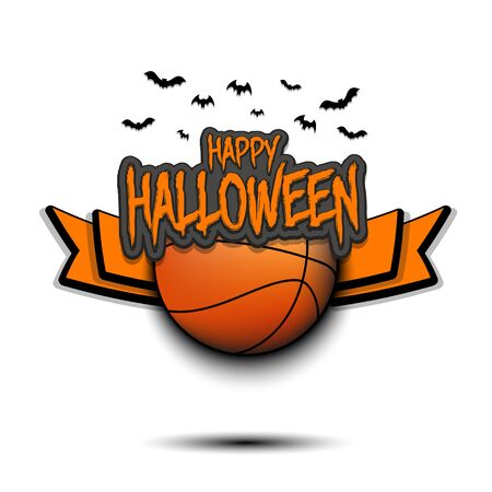 Happy Halloween pattern. Basketball template design. Basketball ball and bat. Design pattern for banner, poster, greeting card, flyer, party invitation.