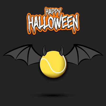 Happy Halloween. Devil tennis ball. Tennis ball with horns and wings. Design pattern for banner, poster, greeting card, flyer, party invitation. Illusztráció