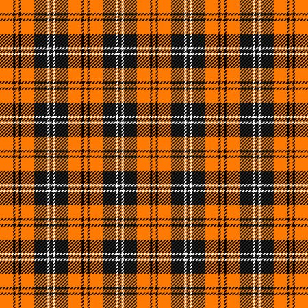 Halloween Tartan plaid. Scottish pattern in black, gray and orange  cage. Scottish cage. Traditional Scottish checkered background. Seamless fabric texture. Illusztráció