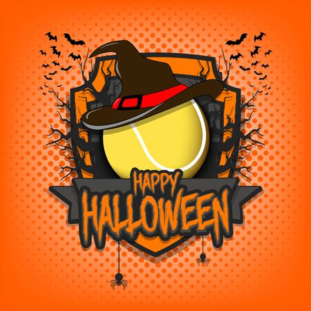 Halloween pattern. Tennis template design. Tennis ball in a hat on a background of spooky trees and bats with a shield. Pattern for banner, poster, party invitation.