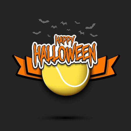 Happy Halloween pattern. Tennis template design. Tennis ball and bat. Design pattern for banner, poster, greeting card, flyer, party invitation.