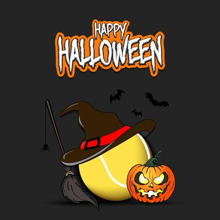 Happy Halloween. Tennis template design. Tennis ball with witch hat, pumpkin, broom, spider and bat. Design pattern for banner, poster, greeting card, flyer, party invitation.