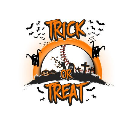 Halloween pattern. Trick or treat. Baseball template design. Baseball ball, pumpkins, spooky tree, crosses, coffin, ghost and bat. Pattern for banner, poster, party invitation.
