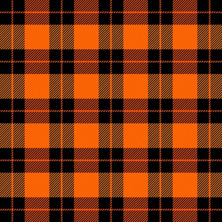 Halloween Tartan plaid. Scottish pattern in black and orange  cage. Scottish cage. Traditional Scottish checkered background. Seamless fabric texture.