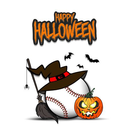Happy Halloween. Baseball template design. Baseball ball with witch hat, pumpkin, broom, spider and bat. Design pattern for banner, poster, greeting card, flyer, party invitation. Illusztráció