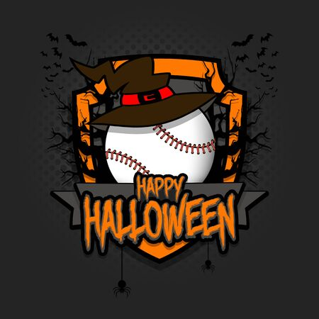 Halloween pattern. Baseball template design. Baseball ball in a hat on a background of spooky trees and bats with a shield. Pattern for banner, poster, party invitation.