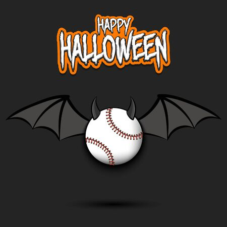 Happy Halloween. Devil baseball ball. Baseball ball with horns and wings. Design pattern for banner, poster, greeting card, flyer, party invitation. Illusztráció