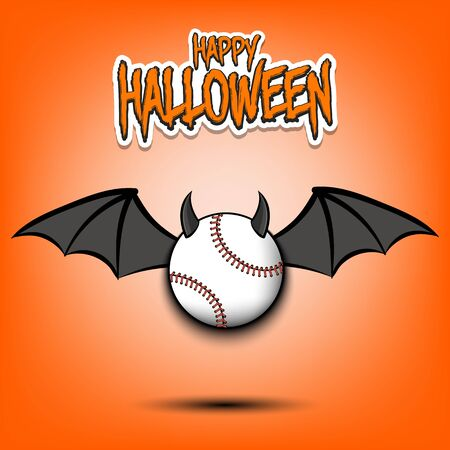 Happy Halloween. Devil baseball ball. Baseball ball with horns and wings. Design pattern for banner, poster, greeting card, flyer, party invitation. Illustration