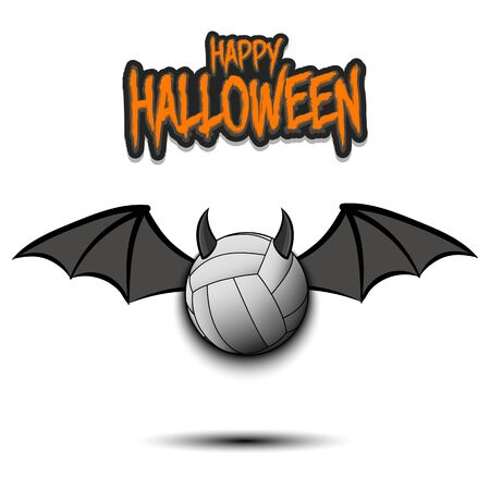Happy Halloween. Devil volleyball ball. Volleyball ball with horns and wings. Design pattern for banner, poster, greeting card, flyer, party invitation. Illusztráció