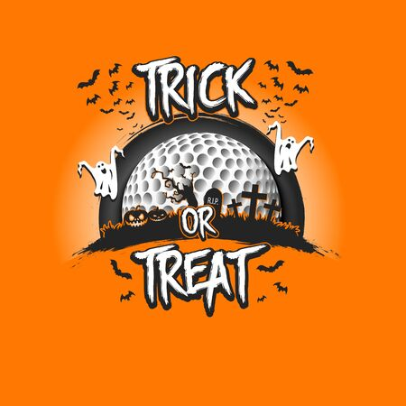 Halloween pattern. Trick or treat. Golf template design. Golf ball, pumpkins, spooky tree, crosses, coffin, ghost and bat. Pattern for banner, poster, party invitation. Vector illustration
