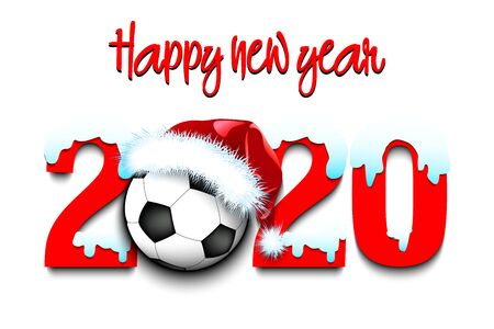 Snowy New Year numbers 2020 and soccer ball in a Christmas hat on the background of the gate. Creative design pattern for greeting card, banner, poster, flyer, party invitation. Vector illustration Illusztráció